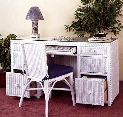 Traditional Double Wicker Desk W File Drawers Chair White