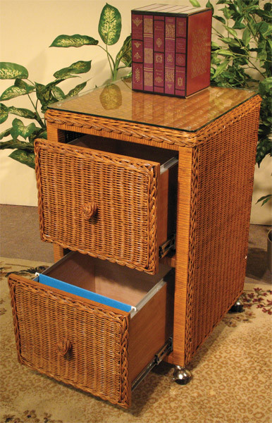 Wicker File Cabinet 2 Drawers
