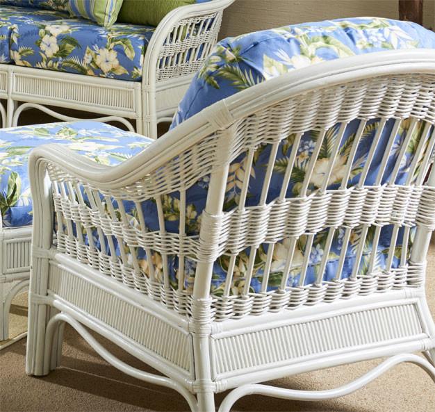 Bermuda Rattan Framed Wicker Chair  - WHITEWASH