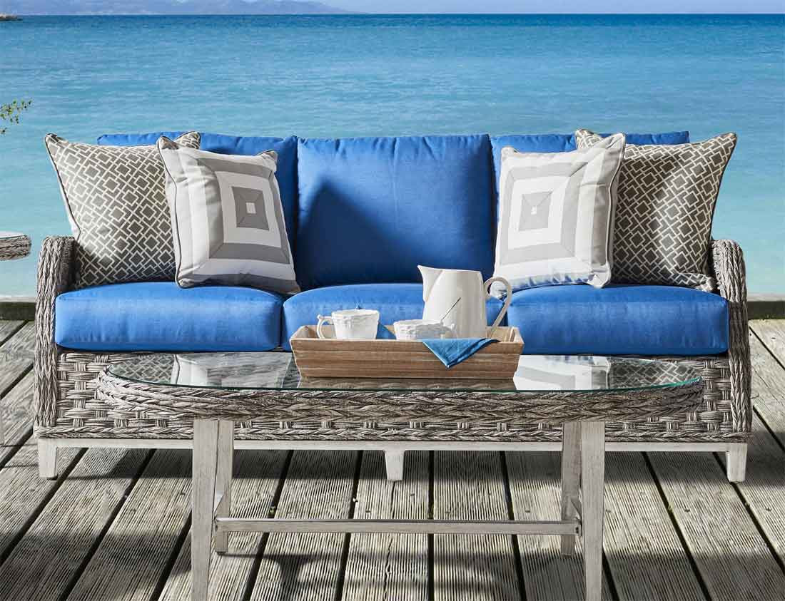 ... All Weather Resin Wicker Outdoor Sofa, Canyon Lake   GRANITE
