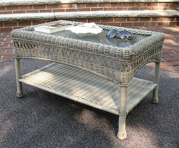 Belaire resin wicker cocktail or coffee table with glass top for White driftwood coffee table