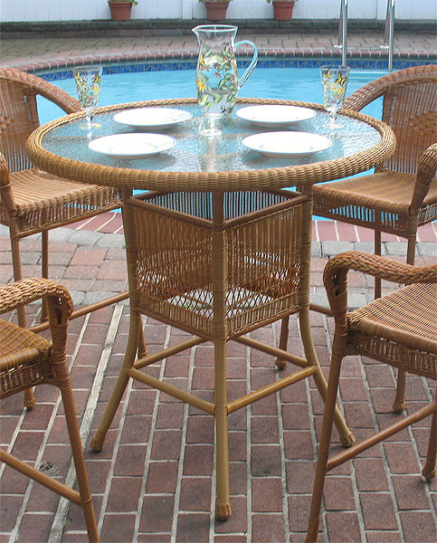 Resin Wicker High Dining Table 42 Round