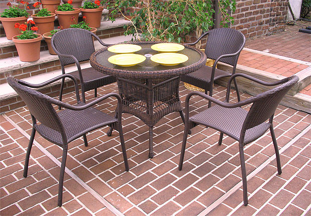 ... 36 Round Resin Wicker Dining Set In 5 Colors   ANTIQUE BROWN ...