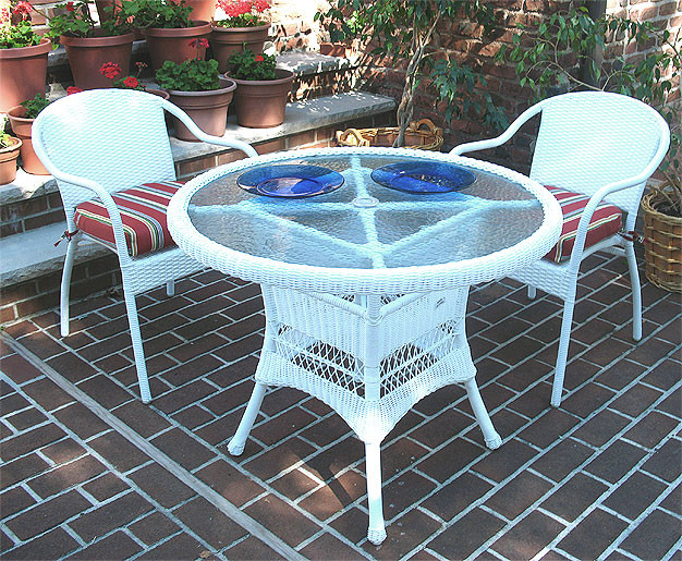 ... 36 Round Resin Wicker Dining Set In 5 Colors   WHITE ...