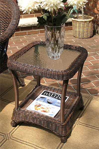Brown Wicker Side Table