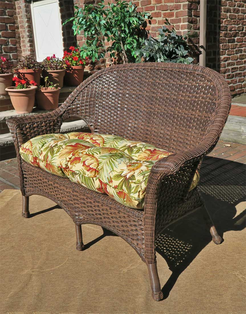 ... Veranda High Back Resin Wicker Loveseat With Cushion   ANTIQUE BROWN ...