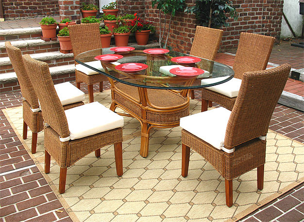 ... 7 Piece Signature Oval Wicker Dining Set, White Or Brown   TEAWASH