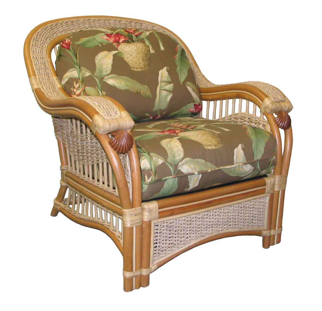 ... Mariner Rattan Lounge Chair With Cushions   NATURAL