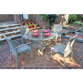Caribbean 48 Dining Set (2-Arm 2-Side Chairs)