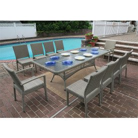 Caribbean 96 x 42  Dining Set (2-Arm 8-Side Chairs)