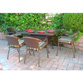 60x36 Rectangular Dining Set with 4-Cushioned Bistro Chairs