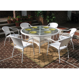 60 Round Resin Dining Set with 6-Bistro Chairs