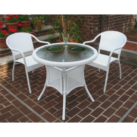 30 Round Resin Wicker Bistro Set with 2-Chairs in 5 colors