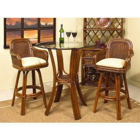 3 Piece Bar Height Rattan Dining Set, Casa Blanca