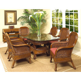(7) Pc Casa Blanca.Oval Rattan Dining Set