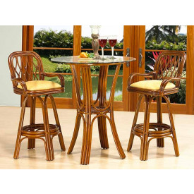 3 Piece Bar Height Rattan Dining Set, Coconut Beach