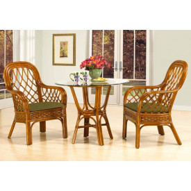 3 Piece Coconut Beach Rattan Dining Set 36""