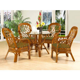 (5) Piece Coconut Beach 48 Round Rattan Dining Set