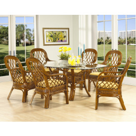 7 Piece Coconut Beachl Rattan Oval Dining Set