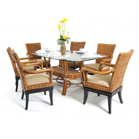 7 Pc South Beach Rattan Dining Set 72' Oval