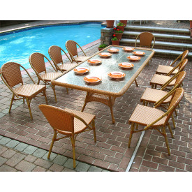 96 x 42 (11) Piece Rectangular Cafe Dining Set with Umbrella Hole