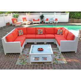 Caribbean 10-Piece Square Sectional with Table
