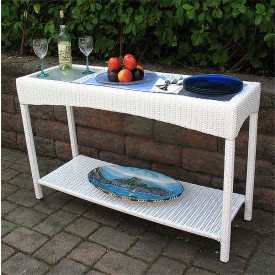 Caribbean Serving Console Table with Glass Top