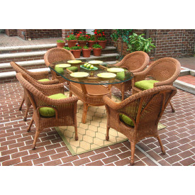 Diamond 7-Piece Oval Dining Set with Glass Top