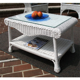 Diamond Natural Wicker Coffee Table with Glass Top