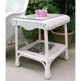 Natural Wicker Diamond End Table with Glass Top
