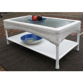 Laguna Beach Resin Wicker Cocktail or CoffeeTable with Glass Top