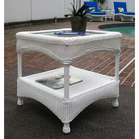 Laguna Beach Resin Wicker End Table with Glass Top