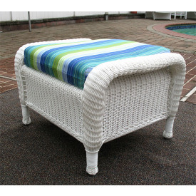 Laguna Beach Wicker Ottoman with Cushion