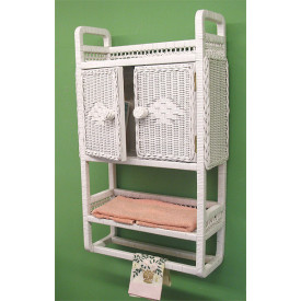 Wicker Bath Cabinet With Towel Bar