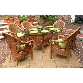 Monterey 7- Pc Oval  Wicker Dining Set