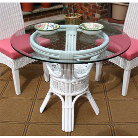 Pole Rattan 36 Bistro Table with Glass Top