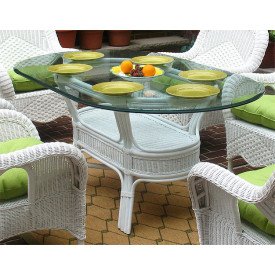 Pole Rattan 72 Oval Dining Table with Glass Top