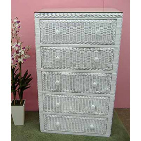 Traditional 5 Drawer Wicker Dresser