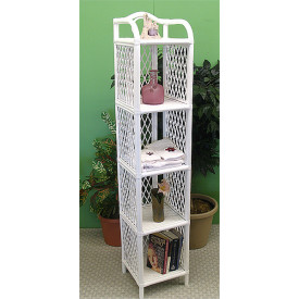Pole Rattan Tall and Slim 5-Tier Floor Shelf