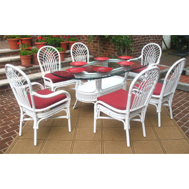 "Natural Rattan Oval Dining Set Savannah 72"" Oval"