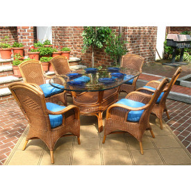 Santa Fe 7-Piece Oval Dining Set with Glass Top