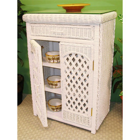 Single Lattice Wicker Cabinet