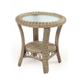 Baketweave Round Resin Wicker End Table