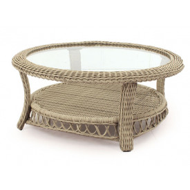 Basketweave Round Resin Wicker Cocktail Table
