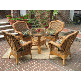 Tangiers 5-Piece Round Dining Set with Glass Top