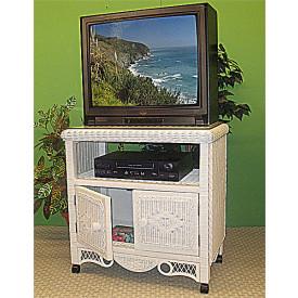 Victorian Wicker TV Stand w/Glass Top & Castors