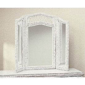 Victorian Tri-Fold Wicker Mirror
