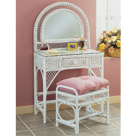 Wicker Vanity With Mirror Bench And Glass Top