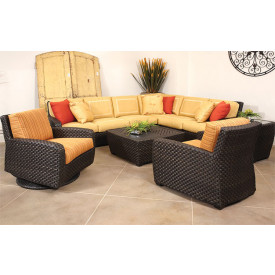 Leeward Synthetic Outdoor Wicker 8-Pc Sectional