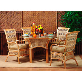 "Fiji  Rattan Dining Set 5 Pc 42"" Glass top"